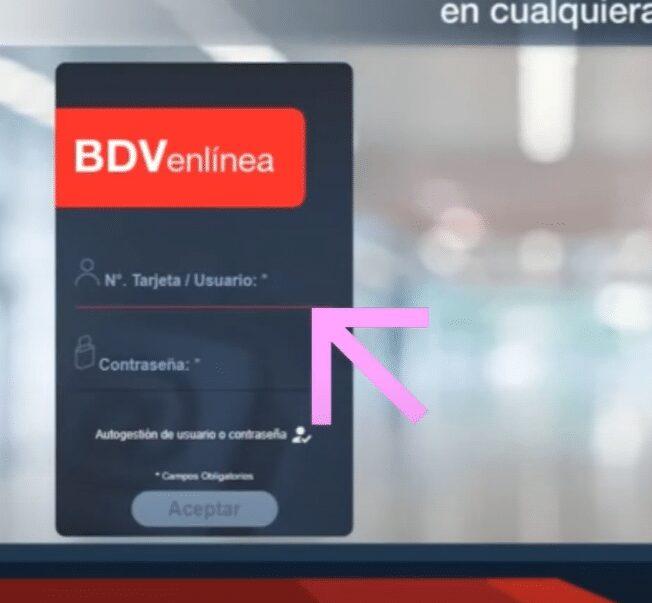 ingresar a bdv en linea e ingresar usuario o numero de tarjeta